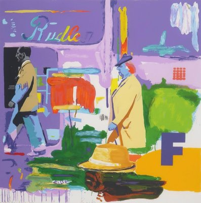 Carlos Blaaker - Rush - 98 x 98 cm - Zeefdruk op papier - in houten lijst