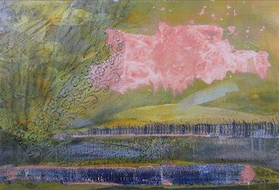 Thera Bronkhorst - zonder titel - 91,5 x 121,5 cm - Gemengde techniek en collage op papier - in aluminium lijst
