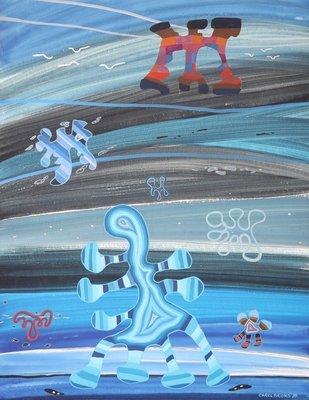 Carel Brons - zonder titel - 65 x 50 cm - Gouache op stevig papier