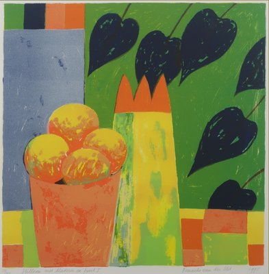 Fenneke van der Elst - Stilleven met bladeren en fruit I - 61 x 61 cm - zeefdruk op papier - in aluminium lijst