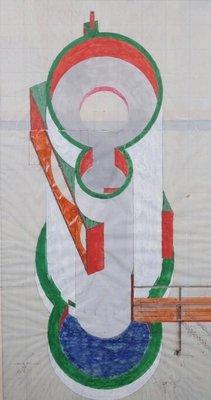 Pieter van Evert - zonder titel - 91,5 x 52,5 cm - Gemengde techniek  op papier - in houten lijst
