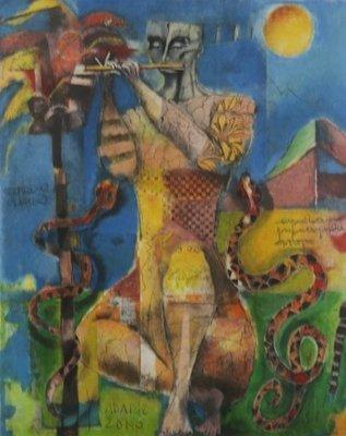 Astrid Engels - zonder titel - 91 x 75 cm - Steendruk op papier - in goudkleurige houten lijst