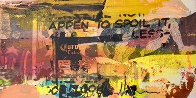 George Heidweiller - zonder titel I - 60 x 30 x 3 cm - acrylverf en gemengde techniek op hout (lichtgevend)
