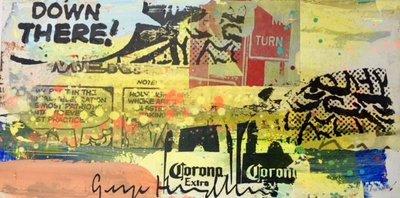 George Heidweiller - zonder titel II - 60 x 30 x 3 cm - acrylverf en gemengde techniek op hout (lichtgevend)
