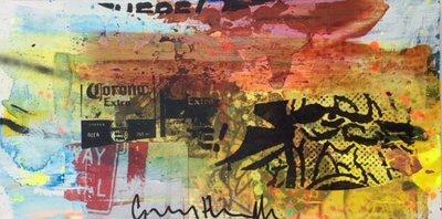 George Heidweiller - zonder titel III - 60 x 30 x 3 cm - acrylverf en gemengde techniek op hout (lichtgevend)