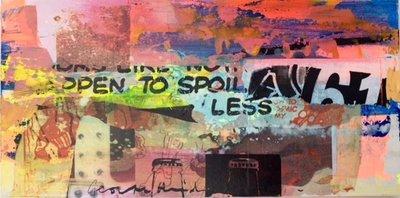 George Heidweiller - zonder titel IV - 60 x 30 x 3 cm - acrylverf en gemengde techniek op hout (lichtgevend)