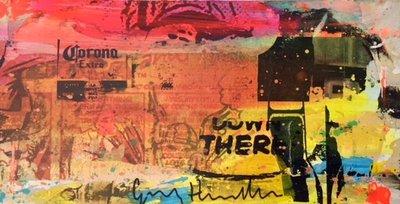 George Heidweiller - zonder titel V - 60 x 30 x 3 cm - acrylverf en gemengde techniek op hout (lichtgevend)