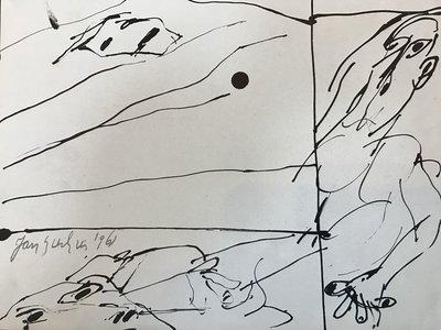 Jan Sierhuis - zonder titel I - 25 x 22 cm - Tekening op muziekpapier