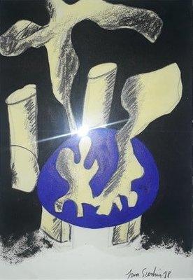 Jan Sierhuis - zonder titel X - 35 x 45 cm - Olieverf op geschept papier - ingelijst