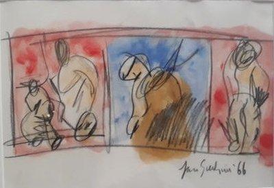 Jan Sierhuis - zonder titel X - 35 x 45 cm - Olieverf en krijttekening op papier - ingelijst