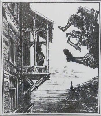 Bernard Verhoeven - Oproep, 2 dagen in de hemel - 57,5 cm x 48 cm - Litho op papier - in houten lijs