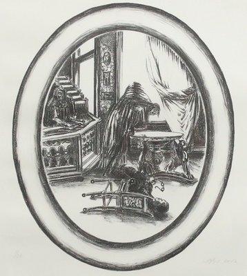 Bernard Verhoeven - Tempeldienst, 2 dagen in de hemel - 57,5 cm x 48 cm - Litho op papier - in houten lijst