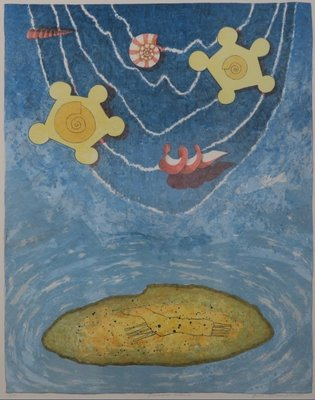 Gert Strengholt - Paradise Island - Litho op papier - 83 x 73 cm - in houten lijst