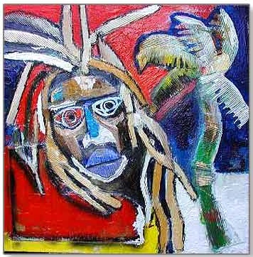 Harold Scheffer - zonder titel - 100 x 100 cm - Mixed media op doek