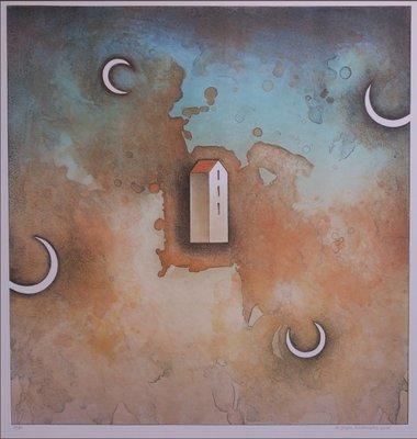 Jurjen Ravenhorst - Zwevend huis - Litho op geschept papier - 65 x 50,5 cm