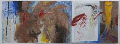 Mohammed Quraish en Peter Schenk - zonder titel - 73,5 x 153,5 cm - Zeefdruk op geschept papier - in houten lijst