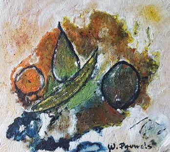 Werner Pauwels - Fruitschaal - 56 x 51 cm - Olieverf op paneel - in houten lijst