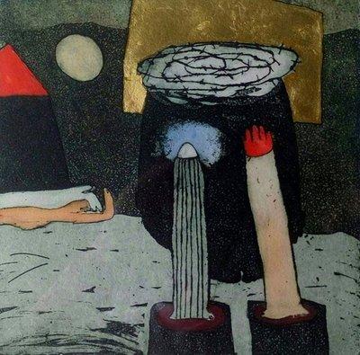 Michel van Overbeeke - Duet I - 55 x 65 cm - Ingekleurde ets met bladgoud - ingelijst