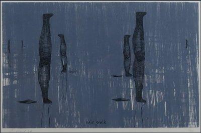 Gijs van Noort - Rain Walk 2 - 60,5 x 80 cm - Ets op papier - in houten lijst