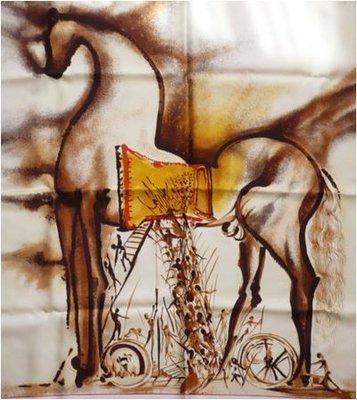 Salvador Dali - Paard van Troje - op zijde doek - 88 x 88 cm - in geschenkdoos