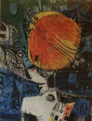 Hans van Draanen - zonder titel - 58 x 68 cm - Gemengde techniek op papier - ingelijst en achter glas