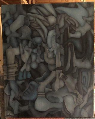 Mordechai Penn - Abstract - 81 x 65 cm - Olieverf op doek