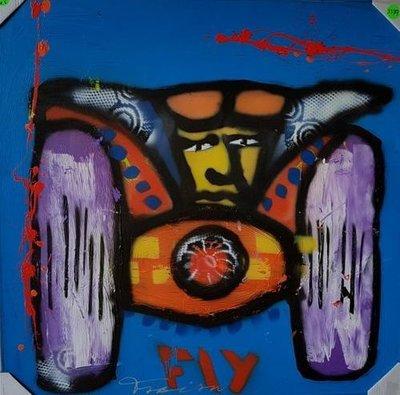 Fabian - Max Verstappen - 100 cm x 100 cm x 4 cm - acrylverf en diverse technieken