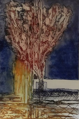 Olivier Beijn - Haven II - 93 x 115 cm - ets op papier - luxe ingelijst