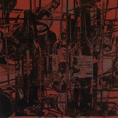 Rob Scholte - Collage Flessen - 80 x 86 cm - Zeefdruk op papier - luxe ingelijst