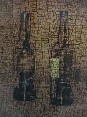Rob Scholte - Craquelé Flessen - 80 x 86 cm - Zeefdruk op papier - luxe ingelijst