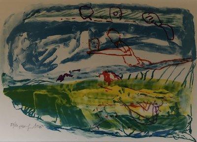 Pieter Defesche - Landschap - 70 x 90 cm - Zeefdruk op papier - ingelijst
