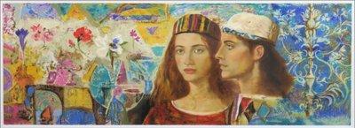 Gregorio Dominguez Goyo - zonder titel - 56 x 131 cm - Zeefdruk op papier - in aluminium lijst