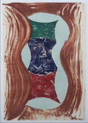 Klaas Hoek - zonder titel - 111 x 81 cm - Houtsnede en litho op papier - in houten lijst