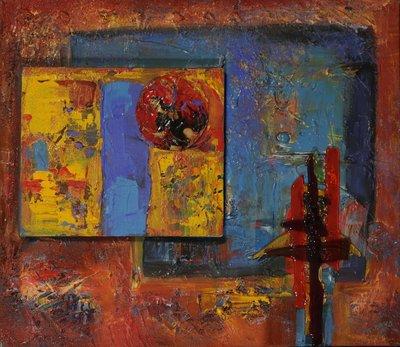 Franca Muller Jabusch - Spanish eyes - 50 x 60 cm - Acryl en collage op doek