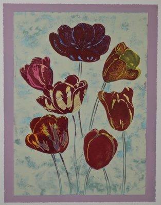 Marjan Jaspers - Tulpen I - 113,5 x 93,5 cm - Zeefdruk op papier - in aluminium lijst