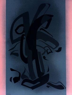 Jules Lismonde (met gedicht Jaak Fontier) - zonder titel - 42 x 55 cm - Zeefdruk op papier