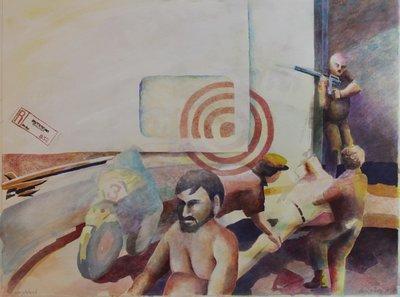 Henri Reiling - Aangetekend - 73 x 54 cm - Aquarel op papier