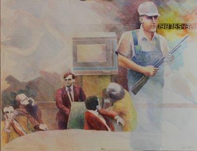 Henri Reiling - Wachten - 54 x 70 cm - Aquarel op papier