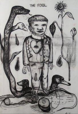 Vittorio Roerade - The Fool - 121 x 91 cm - Tekening op papier - in houten lijst