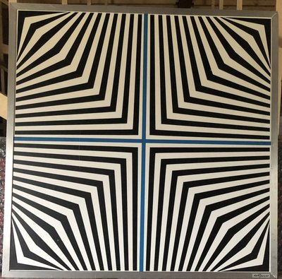 Dirk Huizer - Kruising - 60 x 60 cm - Collage op board - aluminium omlijsting