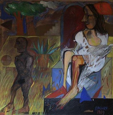 Rumen Rachev - Trouwdag / Wedding day - 101 x 101 cm - acrylverf op doek