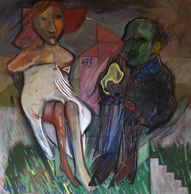 Rumen Rachev - De Bruid / Bride - 101 x 101 cm - acrylverf op doek