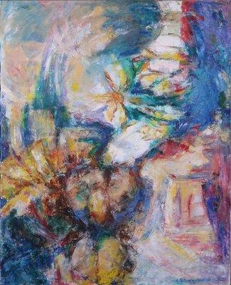 Ardie Setropawiro - zonder titel I - 84 x 69 cm - Olieverf op doek - in houten lijst