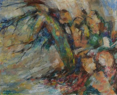 Ardie Setropawiro - zonder titel II - 65 x 80 cm - Olieverf op doek