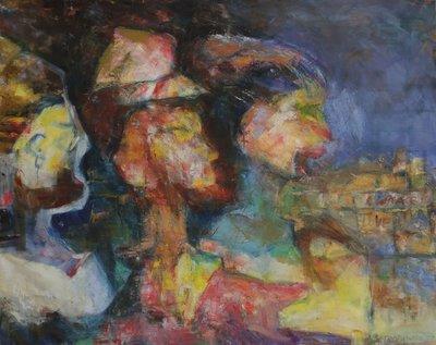 Ardie Setropawiro - zonder titel III - 64 x 79 cm - Olieverf op doek - in houten lijst