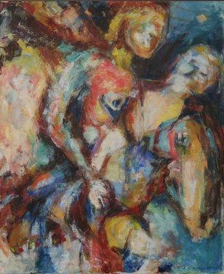 Ardie Setropawiro - zonder titel IV - 89 x 74 cm - Olieverf op doek - in houten lijst