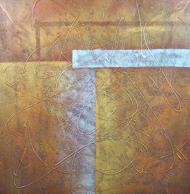 Han Teng - zonder titel II - 105,5 x 105,5 cm - Acryl op doek - in houten baklijst