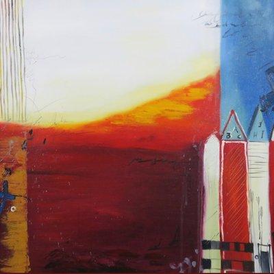 Han Teng - zonder titel IV - 97 x 97 cm - Acryl op doek - in houten lijst