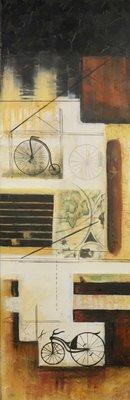 Han Teng - tweeluik - 2 maal 120 x 40 cm - Acryl op doek - op spieraam met ophangsysteem