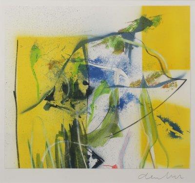 Wiegen den Uyl - Abstracte compositie - 51 x 41 cm - Gemengde techniek op papier - ingelijst